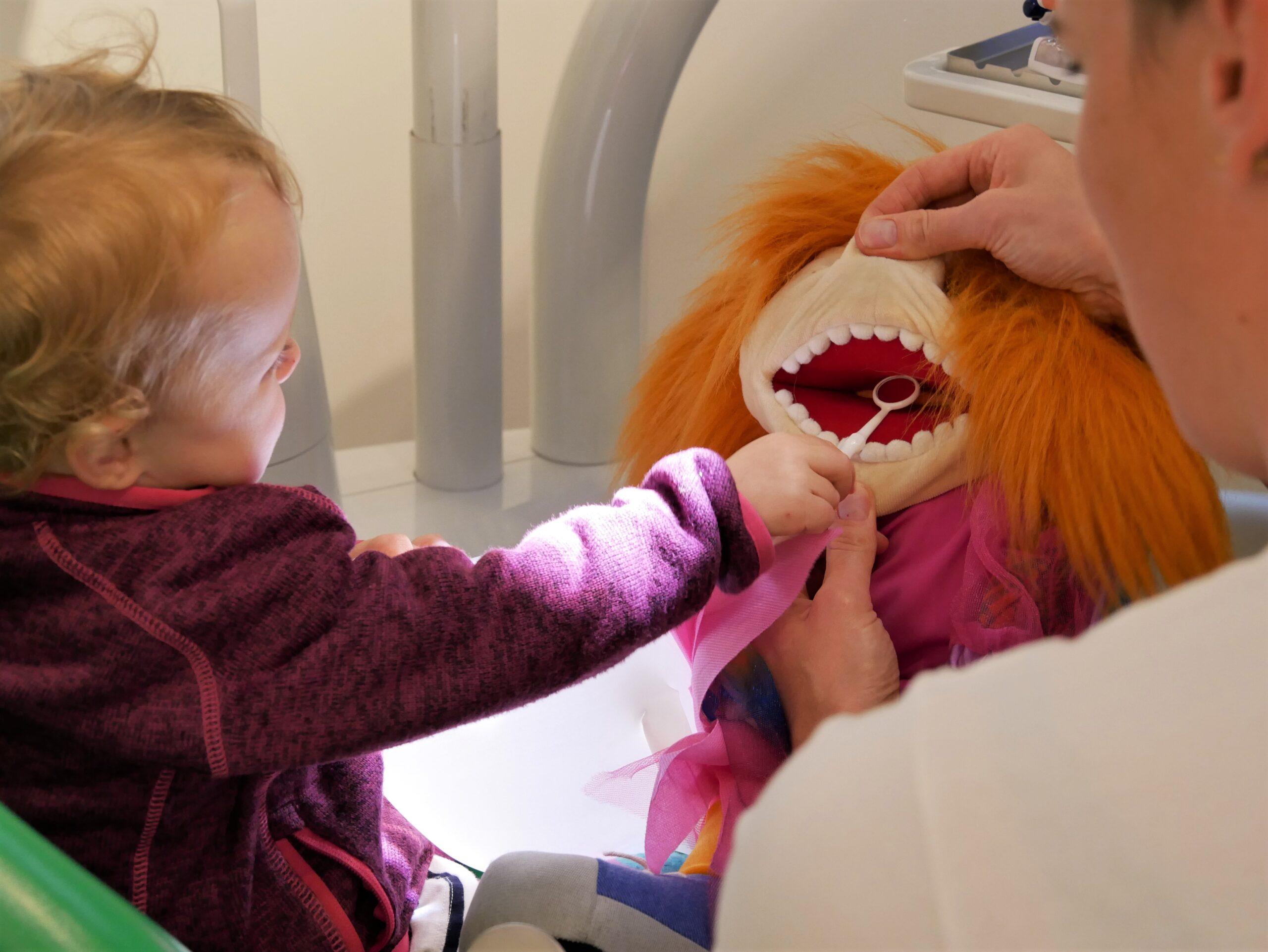 Kind sitzt auf Behandlungsstuhl, Zahnärztin nimmt dem Kind die Vorsicht auf spielerische Art mit einer Handpuppe,